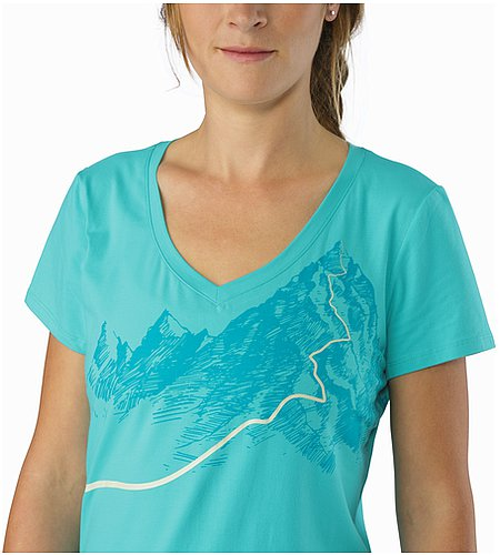 Afterglo V-Neck T-Shirt Women's Halycon Nahansicht Grafik