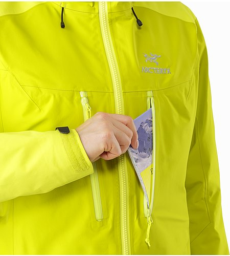 Alpha AR Jacket Women's Chartreuse Chest Pocket