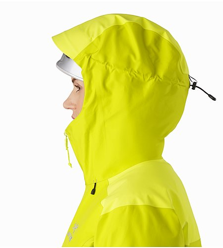 Alpha AR Jacket Women's Chartreuse Helmet Compatible Hood Side View