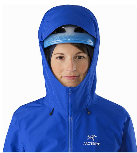 Alpha FL Jacket Women's Somerset Blue Helmet Compatible Hood Front View