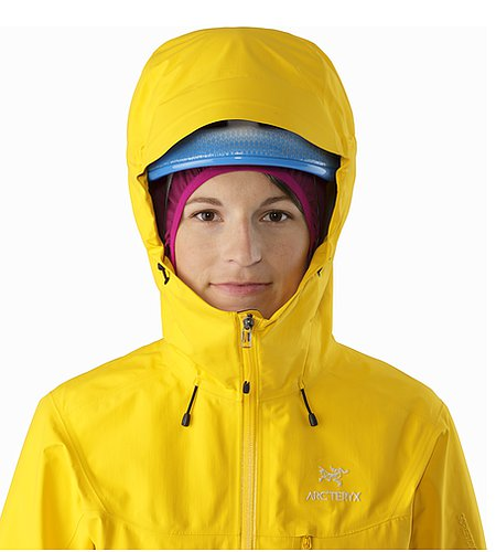 Alpha SL Jacket Women's Golden Poppy Helmkompatible Kapuze Vorderansicht
