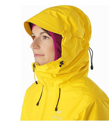 Alpha SL Jacket Women's Golden Poppy Kapuze Seitenansicht