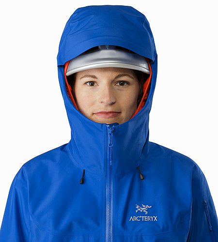 Alpha SV Jacket Women's Somerset Blue Helmet Compatible Hood Front View
