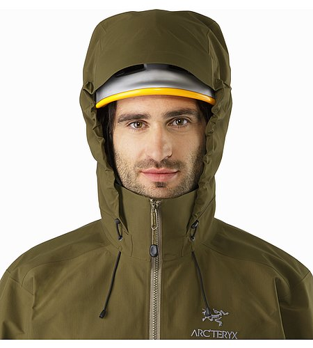 Beta AR Jacket Dark Moss Helmet Compatible Hood Front View