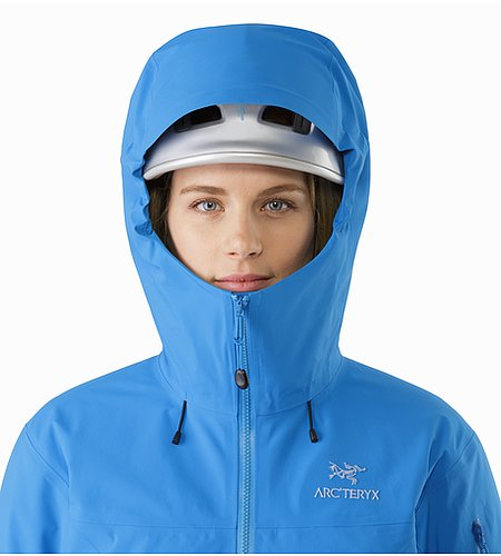 Beta SV Jacket Women's Cedros Blue Helmet Compatible Hood Front View 2