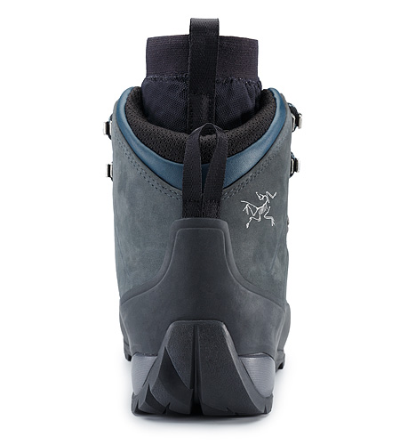 Bora2 Mid Leather Hiking Boot Grey Denim Black Back View