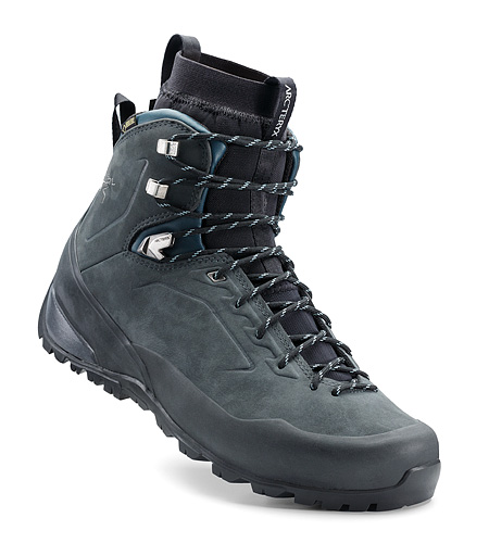 Bora2 Mid Leather Hiking Boot Grey Denim Black Insulated Liner In Boot