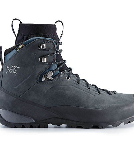Bora2 Mid Leather Hiking Boot Grey Denim Black Side View