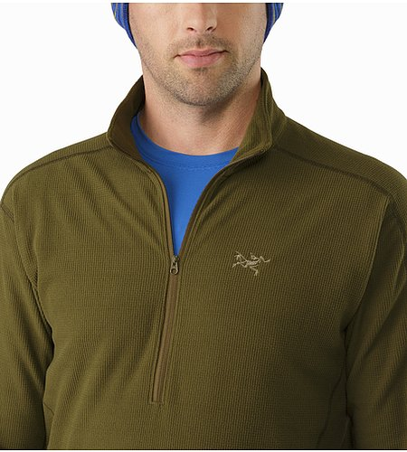 Delta LT Zip Neck Dark Moss Open Collar