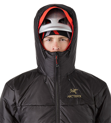Dually Belay Parka Black Helmet Compatible Hood Front View