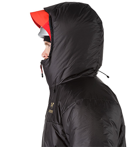 Dually Belay Parka Black Helmet Compatible Hood Side View