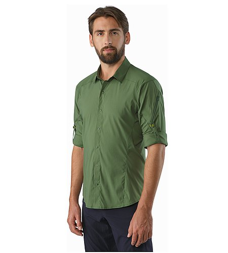 Elaho Shirt LS Cypress Rolled Up Sleeves