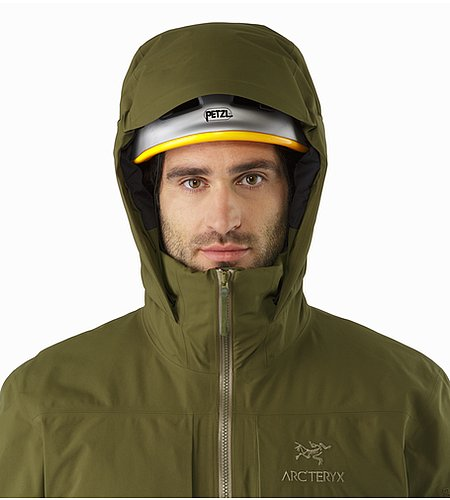 Fission SV Jacket Dark Moss Helmet Compatible Hood Front View