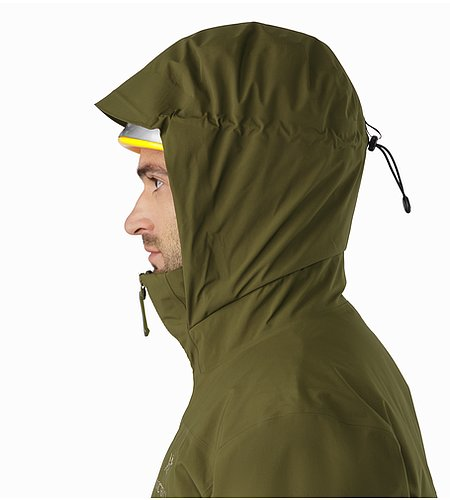 Fission SV Jacket Dark Moss Helmet Compatible Hood Side View