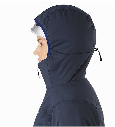 Proton AR Hoody Women's Black Sapphire Helmet Compatible Hood Side View