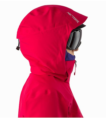 Ravenna Jacket Women's Radicchio Helmet Compatible Hood Side View