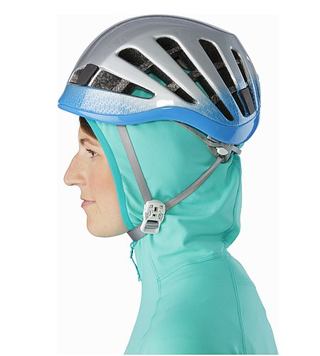 Zoa Hoody Women's Halcyon Helmet Compatible Hood Side View